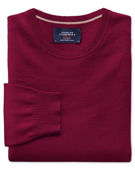 Dark red merino wool crew neck sweater