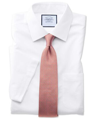 Chemise blanche en popeline coupe droite sans repassage à manches courtes