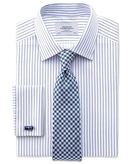 Slim fit Egyptian cotton textured stripe white and navy shirt