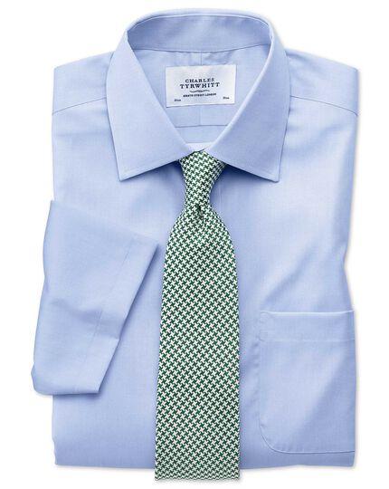 Chemise bleu ciel en pinpoint slim fit sans repassage à manches courtes
