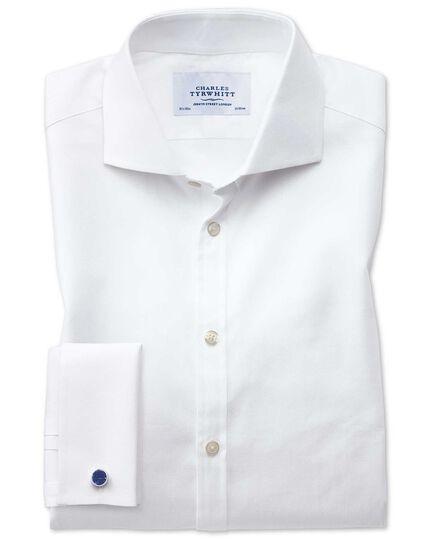 Chemise blanche en sergé de cavalerie de coton égyptien extra slim fit avec col cutaway