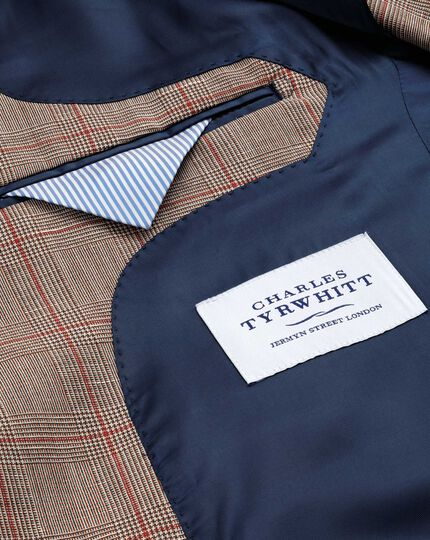 Slim fit red check linen mix jacket