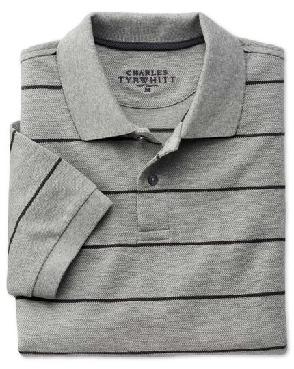 Grey and charcoal stripe pique polo