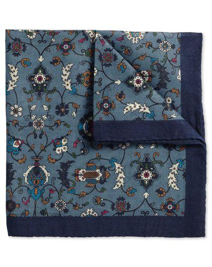 Blue wool floral Italian luxury pocket square