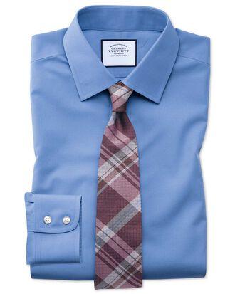 Classic fit non-iron poplin blue shirt
