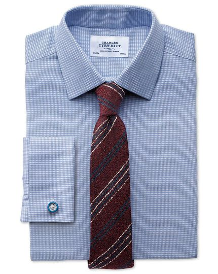 Classic fit non-iron square textured mid blue shirt