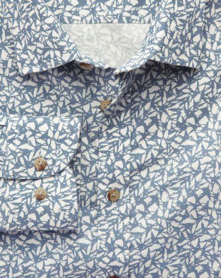 Classic fit sky blue leaf print shirt