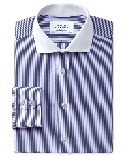 Extra slim fit cutaway collar non-iron Winchester bengal stripe navy shirt