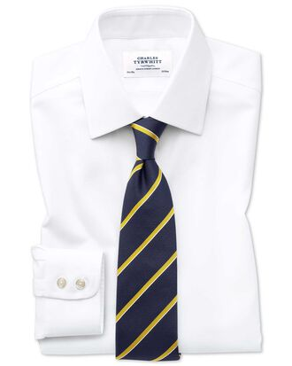 Slim fit non-iron square weave white shirt