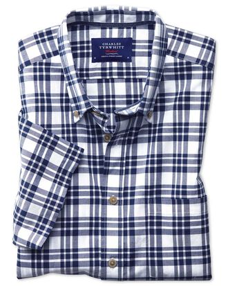 Slim fit button-down poplin short sleeve navy blue check shirt