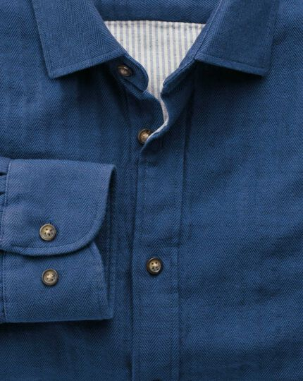 Slim fit blue double face shirt