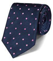 Cravate classique bleu marine et rose à pois en soie