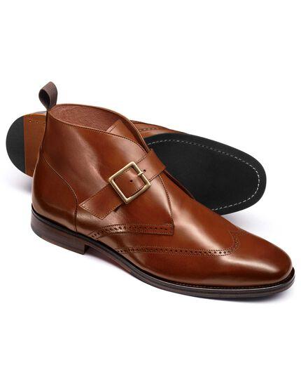 Tan Drift wing tip brogue monk boots