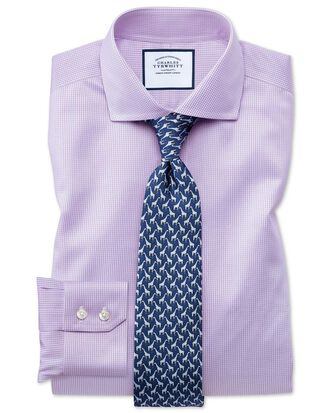 Slim fit spread collar non-iron puppytooth lilac shirt