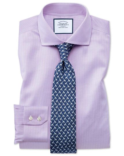 Slim fit cutaway non-iron puppytooth lilac shirt