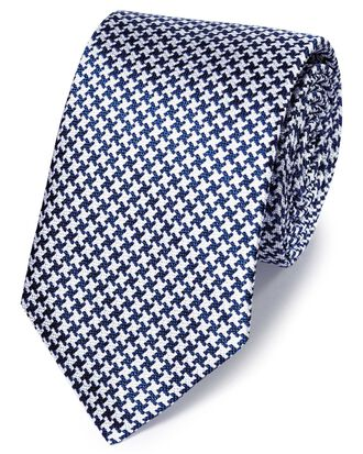Royal and white silk end-on-end puppytooth classic tie