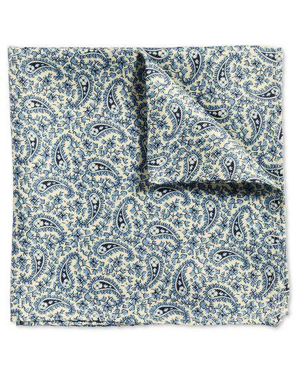 Pochette de costume classique bleue à motif cachemire