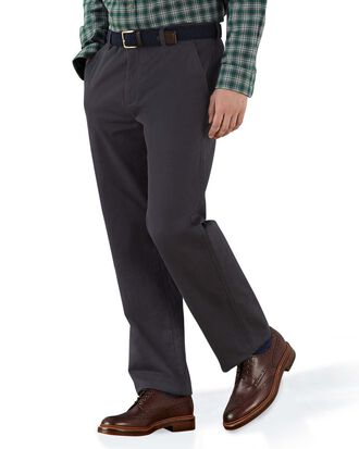 Grey classic fit flat front weekend chinos
