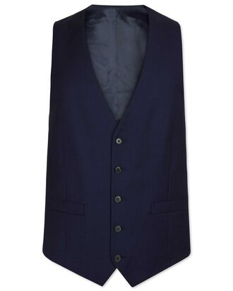 Navy adjustable fit birdseye travel suit waistcoat