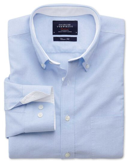 Classic fit sky blue washed Oxford shirt