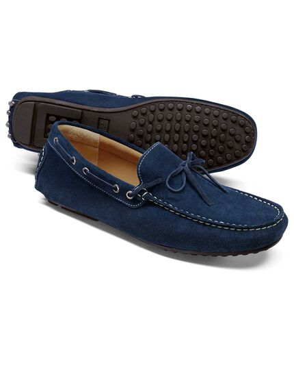 Blue suede driving loafer
