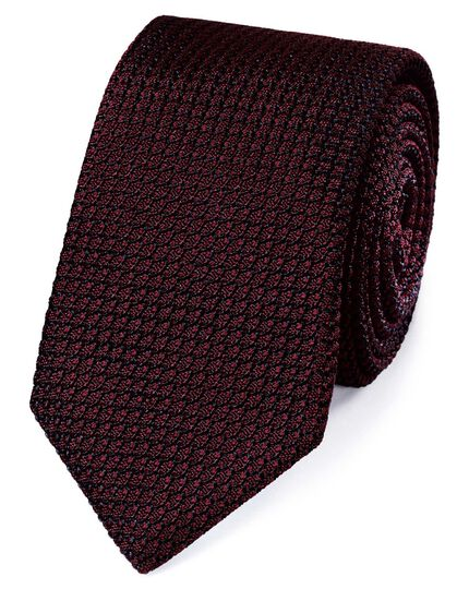 Burgundy silk plain grenadine Italian luxury tie