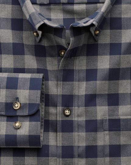 Slim fit non-iron twill navy and grey check shirt