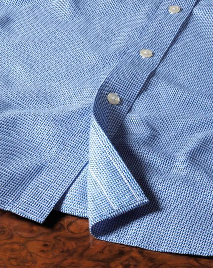 Slim fit cutaway collar non-iron triangle textured royal blue shirt
