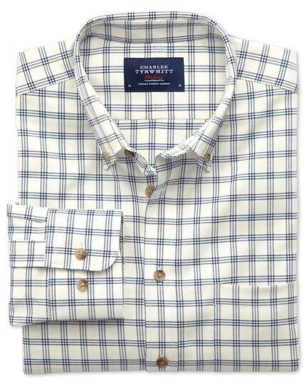 Classic fit non-iron windowpane check white and navy shirt