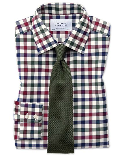 Extra slim fit country check navy blue and berry shirt
