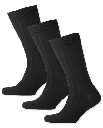 Lot de 3paires de chaussettes noires en laine majoritaire