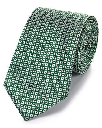 Cravate classique verte et blanche en soie à carrés effet croisillons