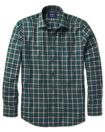 Classic fit heather tartan navy blue and green check shirt