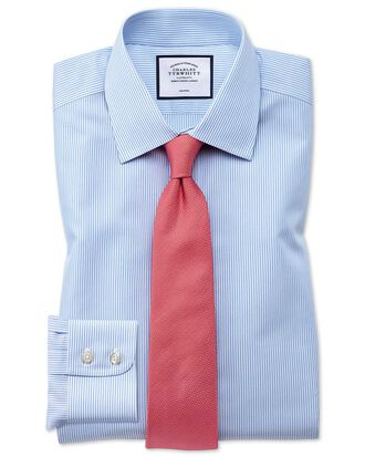 Chemise bleu ciel à rayures Bengale extra slim fit sans repassage