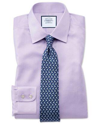 Chemise lilas pied-de-poule coupe droite sans repassage