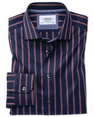 Slim fit semi-cutaway business casual boating navy and red stripe shirt