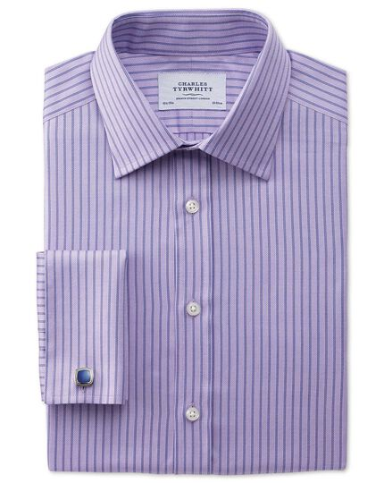 Slim fit Egyptian cotton textured stripe lilac shirt