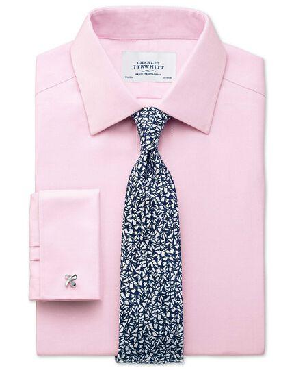 Classic fit non-iron herringbone light pink shirt