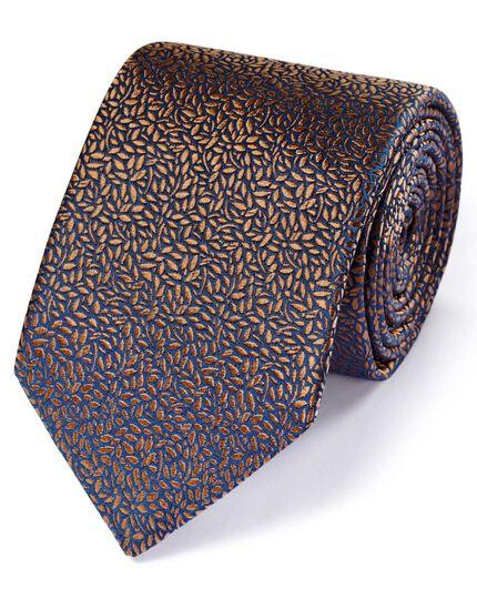 Light brown silk English luxury floral leaf tie
