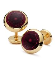 Burgundy English rose enamel round cufflinks