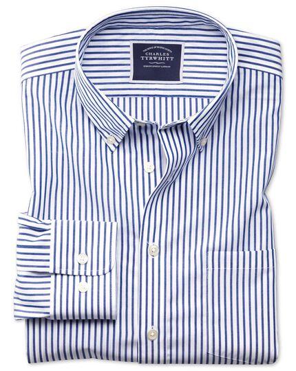 Chemise bleue en popeline coupe droite sans repassage à rayures