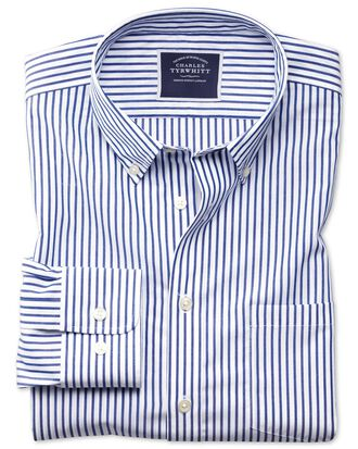 Slim fit button-down non-iron poplin blue stripe shirt
