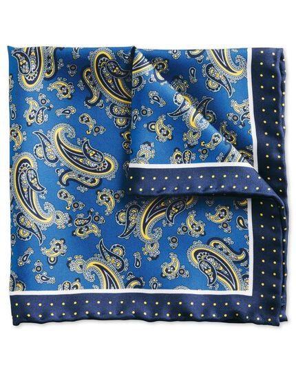 Royal blue and yellow classic detailed paisley pocket square