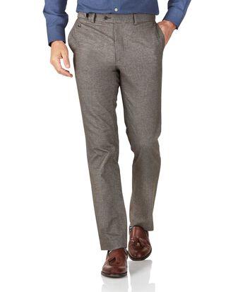 Light brown slim fit cotton flannel herringbone pants