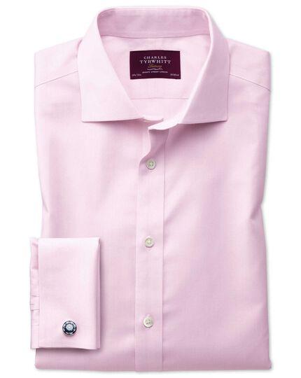 Chemise de luxe à rayures roses sans repassage slim fit avec col semi cutaway