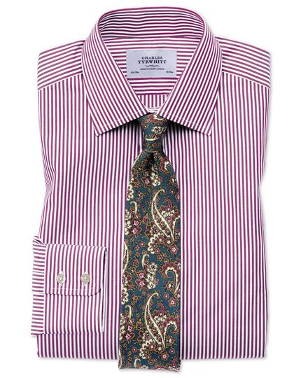 Slim Fit Hemd in Lila mit Bengal-Streifen