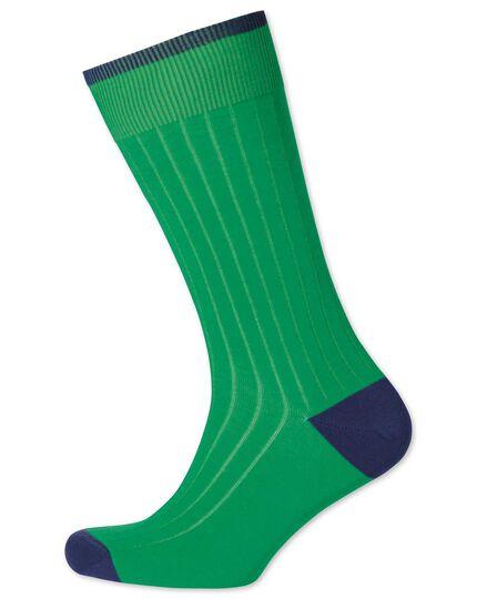 Green ribbed cotton rich socks
