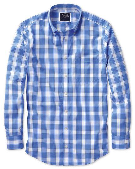 Chemise bleue et blanche en popeline extra slim fit à carreaux et col boutonné sans repassage