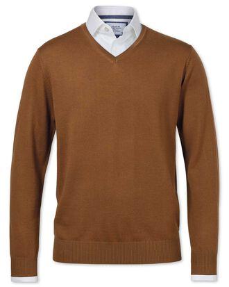 Tan merino wool v-neck jumper