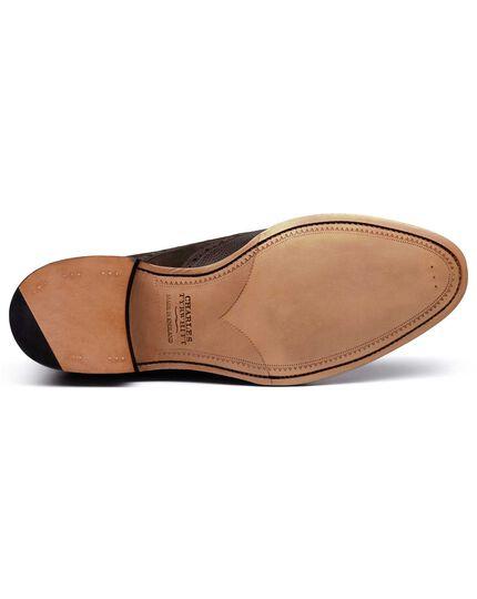 Brown Fonston brogue wing tip Oxford shoe